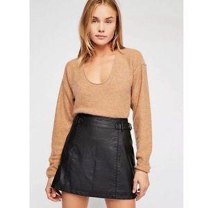 Free People Charli Vegan Leather Mini Skirt